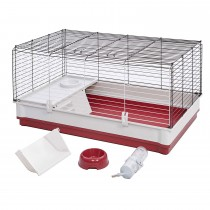 "Midwest Wabbitat Deluxe Rabbit Home White, Red 39.50"" x 23.75"" x 19.75"""