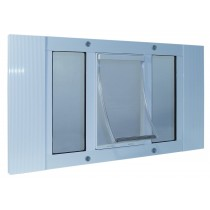 "Ideal Pet Products Aluminum Sash Cat Flap Pet Door Small White 1.25"" x 12.38"" x 23"""