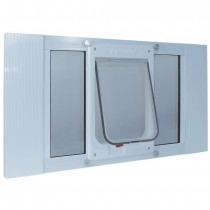 "Ideal Pet Products Aluminum Sash ChubbyKat Flap Pet Door Medium White 1.25"" x 10.75"" x 23"""