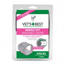 """Vet's Best Perfect-Fit Washable Female Dog Diaper 1 pack Extra Extra Small / Extra Small Gray 5.44"""" x 1.75"""" x 7.75"""""""