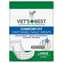 """Vet's Best Comfort-Fit Disposable Male Dog Wrap 12 pack Large White 5.88"""" x 4.75"""" x 8.38"""""""