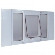 "Ideal Pet Products Aluminum Sash ChubbyKat Flap Pet Door Medium White 1.25"" x 15.06"" x 33"""