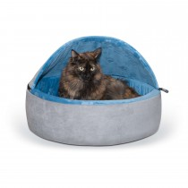 """K&H Pet Products Self-Warming Kitty Bed Hooded Large Blue/Gray 20"""" x 20"""" x 12.5"""""""