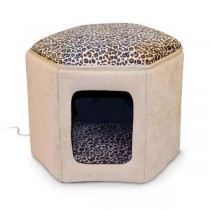 "K&H Pet Products Kitty Clubhouse Tan / Leopard (unheated) 17"" x 16"" x 13"" - KH3892"